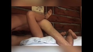 Mom Ass  : Big natural tits amateur couple fucking ending in cowgirl creampie